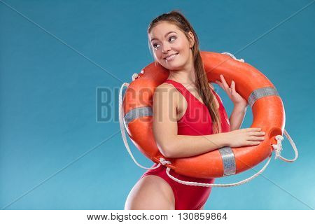 Lifeguard Woman With Ring Buoy Lifebuoy.