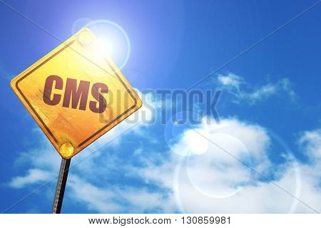 content management system, 3D rendering, a yellow road sign