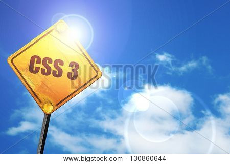 css 3, 3D rendering, a yellow road sign