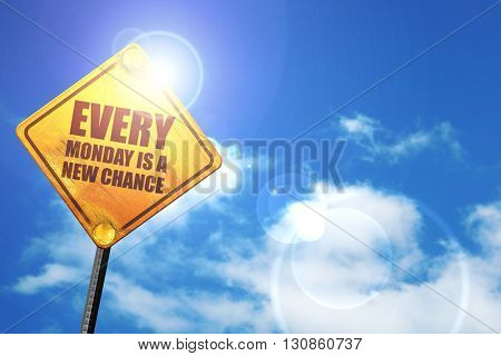 every monday is a new chance, 3D rendering, a yellow road sign