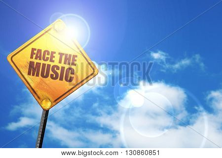 face the music, 3D rendering, a yellow road sign