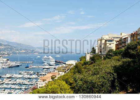 Monte Carlo harbor with luxury yachts and the city skyline