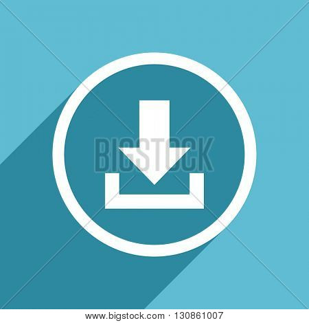 download icon, flat design blue icon, web and mobile app design illustration