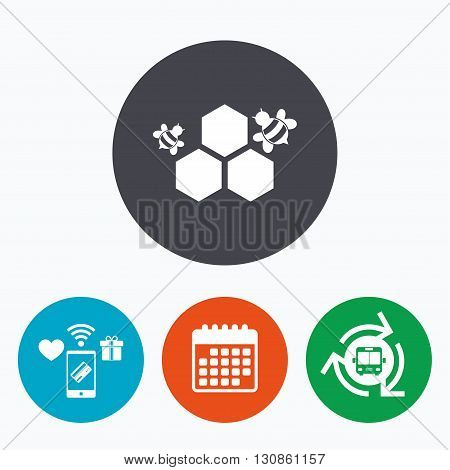 Honeycomb with bees sign icon. Honey cells symbol. Sweet natural food. Mobile payments, calendar and wifi icons. Bus shuttle.