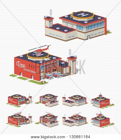 Fire station. 3D lowpoly isometric vector illustration. The set of objects isolated against the white background and shown from different sides