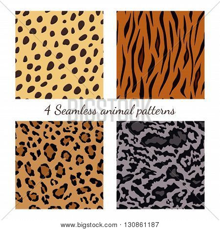 Set of seamless animal patterns vector feline or cat background