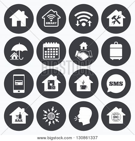 Wifi, calendar and mobile payments. Real estate icons. House insurance, broker and casino with bar signs. Handshake deal, coffee and smart house symbols. Sms speech bubble, go to web symbols.
