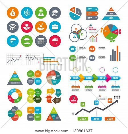 Wifi, calendar and web icons. Insurance icons. Life, Real estate and House signs. Saving money, vehicle and umbrella symbols. Diagram charts design.