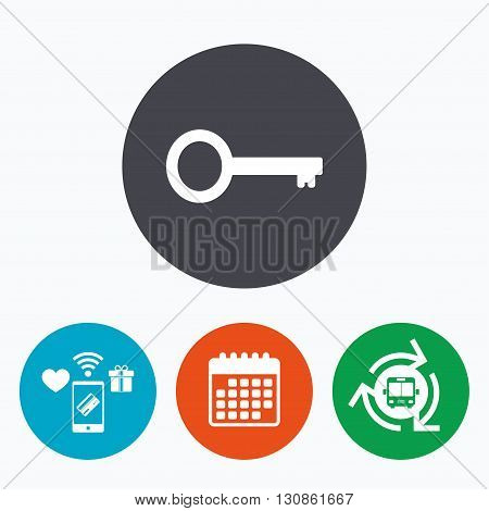 Key sign icon. Unlock tool symbol. Mobile payments, calendar and wifi icons. Bus shuttle.