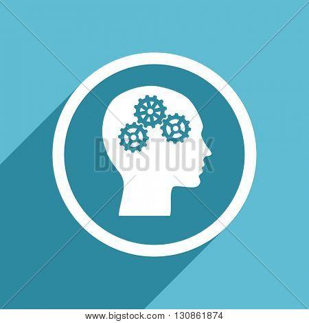 head icon, flat design blue icon, web and mobile app design illustration