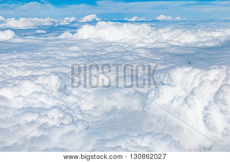 Fluffy cloudscape in aerial views from above