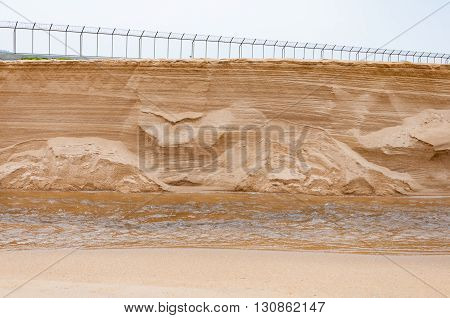 Sand dune collapse down to a small canal revealed texture inside