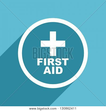 first aid icon, flat design blue icon, web and mobile app design illustration