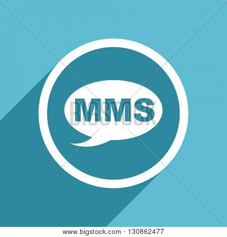 mms icon, flat design blue icon, web and mobile app design illustration