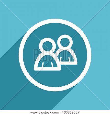 forum icon, flat design blue icon, web and mobile app design illustration