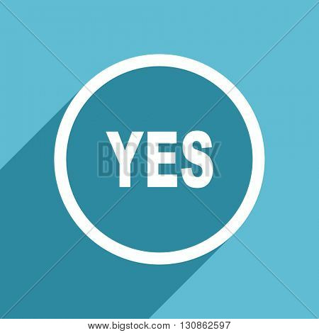 yes icon, flat design blue icon, web and mobile app design illustration