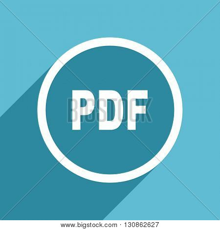 pdf icon, flat design blue icon, web and mobile app design illustration