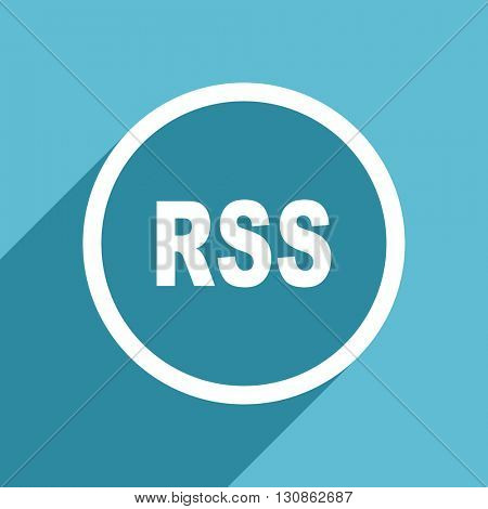 rss icon, flat design blue icon, web and mobile app design illustration