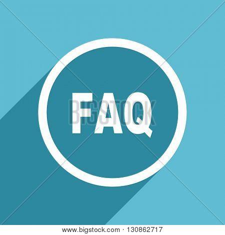 faq icon, flat design blue icon, web and mobile app design illustration