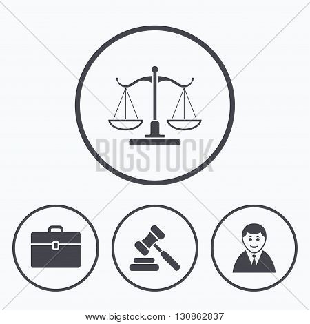 Scales of Justice icon. Client or Lawyer symbol. Auction hammer sign. Law judge gavel. Court of law. Icons in circles.