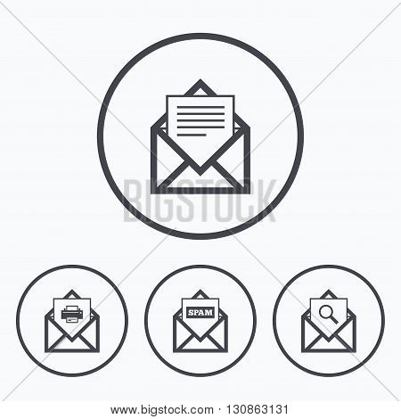 Mail envelope icons. Print message document symbol. Post office letter signs. Spam mails and search message icons. Icons in circles.