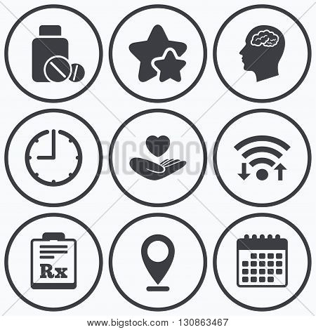 Clock, wifi and stars icons. Medicine icons. Medical tablets bottle, head with brain, prescription Rx signs. Pharmacy or medicine symbol. Hand holds heart. Calendar symbol.