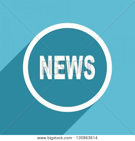 news icon, flat design blue icon, web and mobile app design illustration