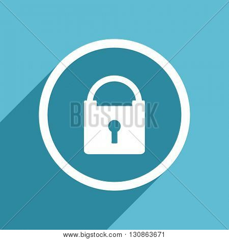 padlock icon, flat design blue icon, web and mobile app design illustration