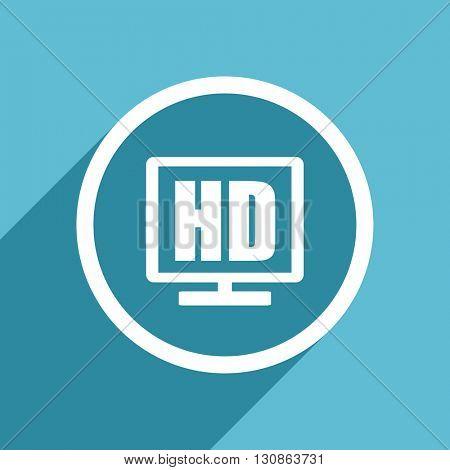 hd display icon, flat design blue icon, web and mobile app design illustration