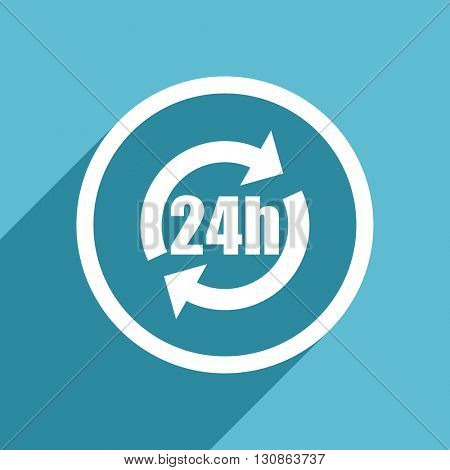 24h icon, flat design blue icon, web and mobile app design illustration