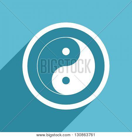yin yang icon, flat design blue icon, web and mobile app design illustration