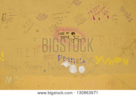 CHANHASSEN, MINNESOTA, May 13, 2016: Paisley Park, the home of Prince Rogers Nelson finds graffiti and messages left on cement walls near the entrance.