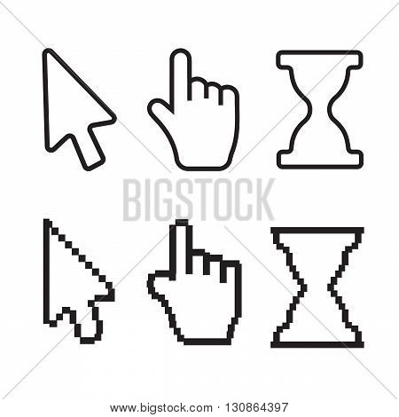 Hand and arrow smooth and pixel vectors eps10