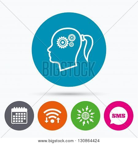 Wifi, Sms and calendar icons. Head with gears sign icon. Female woman human head think symbol. Go to web globe.