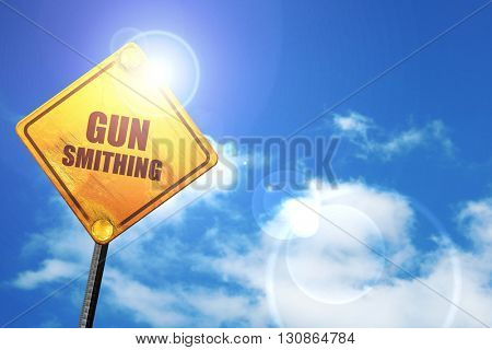gun smithing, 3D rendering, a yellow road sign