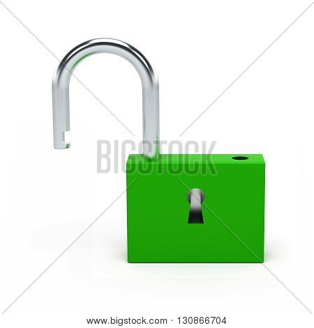 Unlocked green lock isolated on white background. 3D illustration.