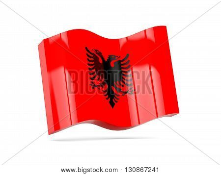 Wave Icon With Flag Of Albania