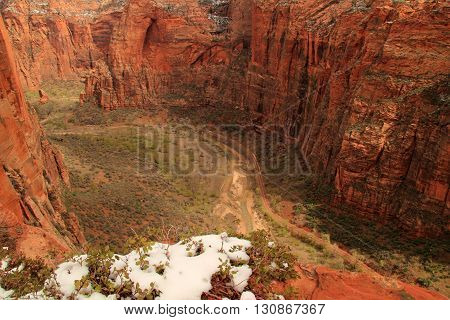 View of Zion Canyon from the West Rim Trail in Zion National Park, Utah