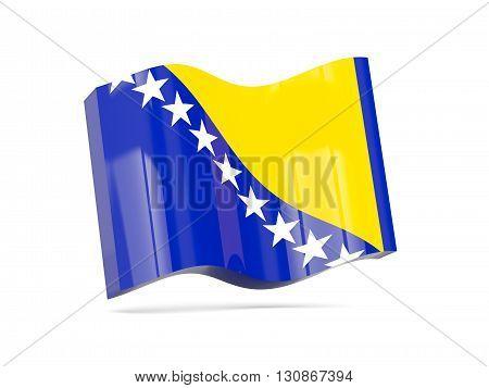 Wave Icon With Flag Of Bosnia And Herzegovina