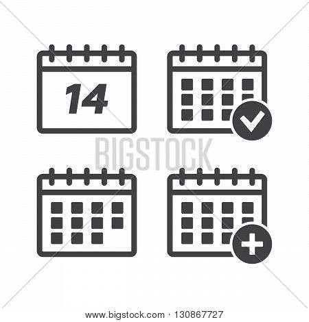 Calendar icons set vector illustration. Calendar black logo. Calendar icons sign eps10