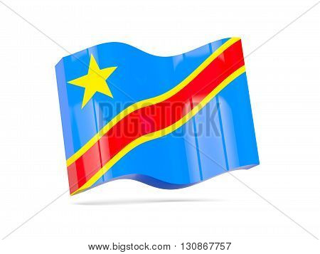 Wave Icon With Flag Of Democratic Republic Of The Congo
