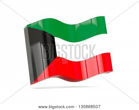 Wave Icon With Flag Of Kuwait