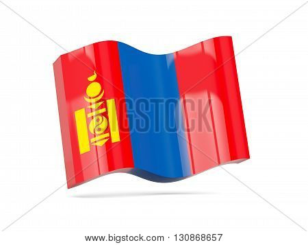 Wave Icon With Flag Of Mongolia