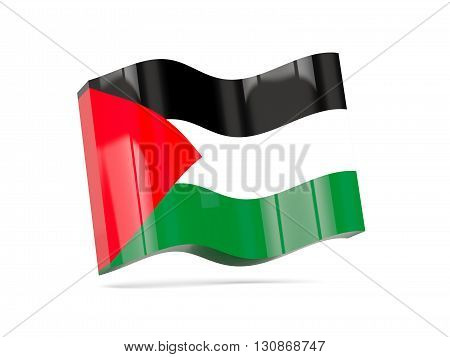 Wave Icon With Flag Of Palestinian Territory