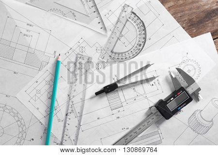 Set of engineering drawings with tools, top view
