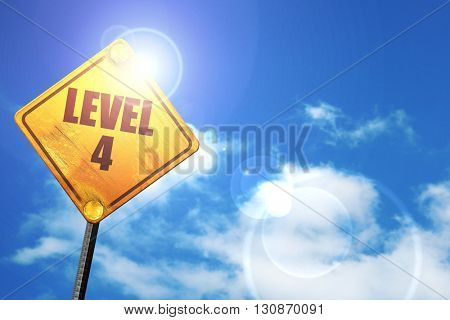 level 4, 3D rendering, a yellow road sign