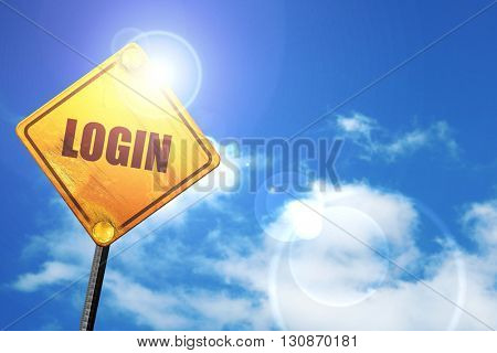 login, 3D rendering, a yellow road sign