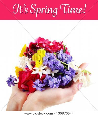 Bright flowers in hands and sentence It's spring time