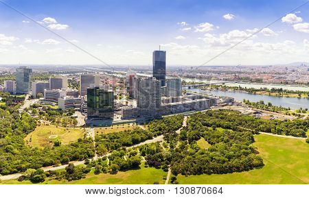 Aerial View Of Vienna City Skyline Handelskai office district view from Danube tower panorama view