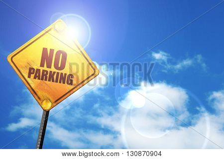 no parking, 3D rendering, a yellow road sign